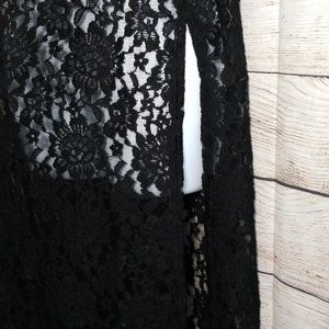 LuLaRoe Jackets & Coats - LuLaRoe Joy Black Lace Duster Vest Sz  XS